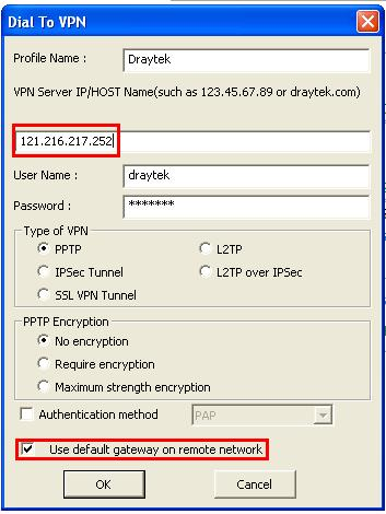 Host to LAN VPN ( Teleworker to Vigor ) - WinXP to Vigor Router